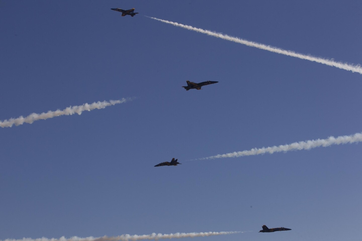 Always a popular part of the show, The Blue Angels took to the air in the afternoon on the first day of the three-day Miramar Air Show at Marine Corps air base Miramar.