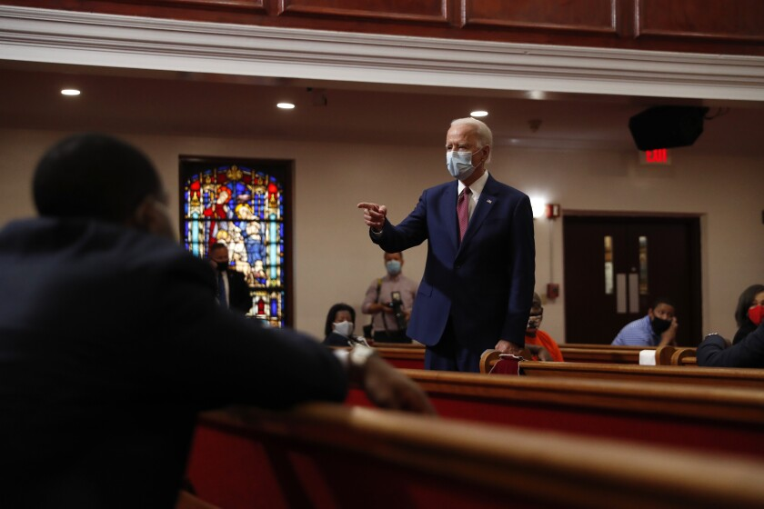 Former Vice President Joe Biden speaks to members of the clergy and community leaders at Bethel AME Church in Wilmington, Del., on Monday.
