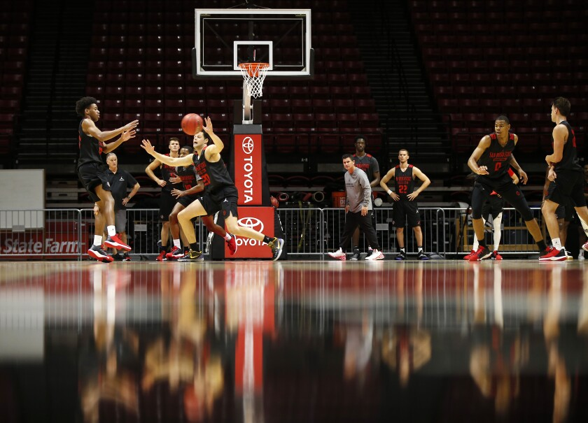 Action from SDSU's first basketball practice at Viejas Arena on Sept. 26.