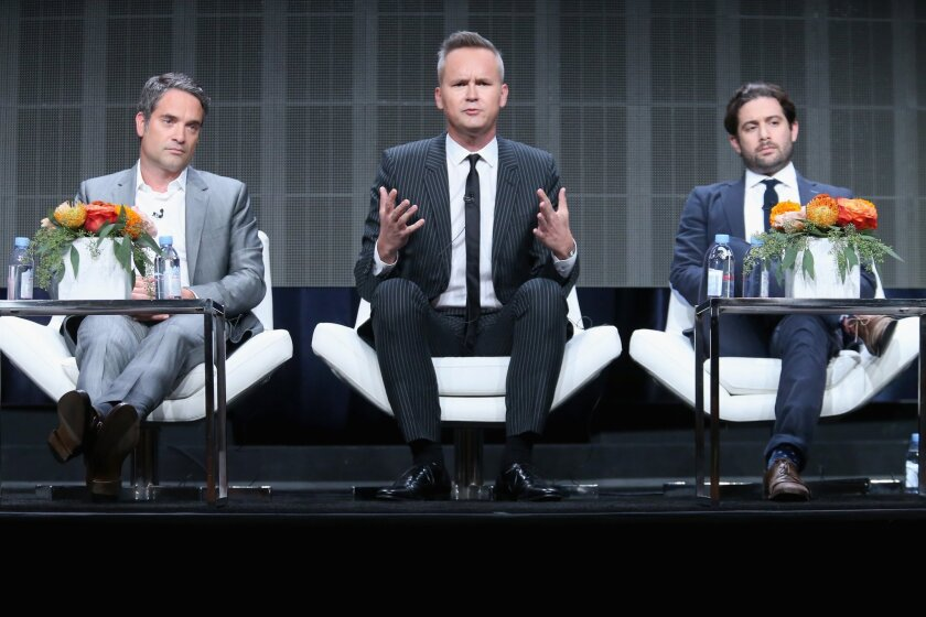 Amazon Studios drama head Morgan Wandell, left, chief Roy Price and comedy head Joe Lewis appear Monday at Amazon's executive session at the Television Critics Assn. press tour in Beverly Hills.