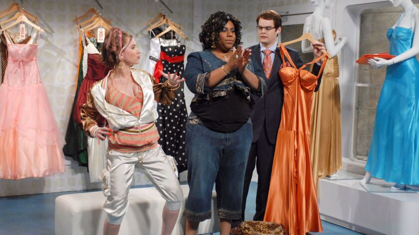 "Scarlett Johansson as daughter, Kenan Thompson as Virginiaca Hastings, Bill Hader as salesman during the ""Prom Dress Shopping"" skit in 2007."