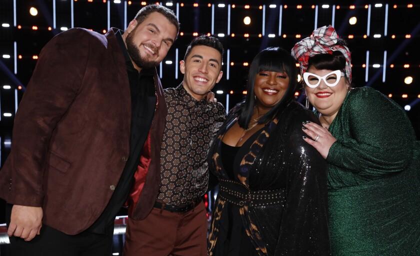 """Jake Hoot, left, Ricky Duran, Rose Short, Katie Kadan on """"The Voice"""" on NBC."""