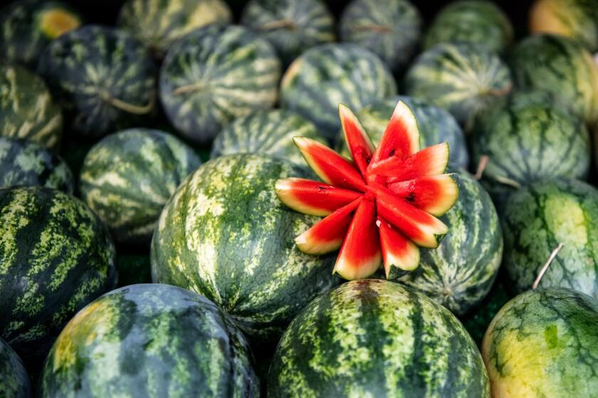 Watermelon on display at the Santa Monica Farmers Market.