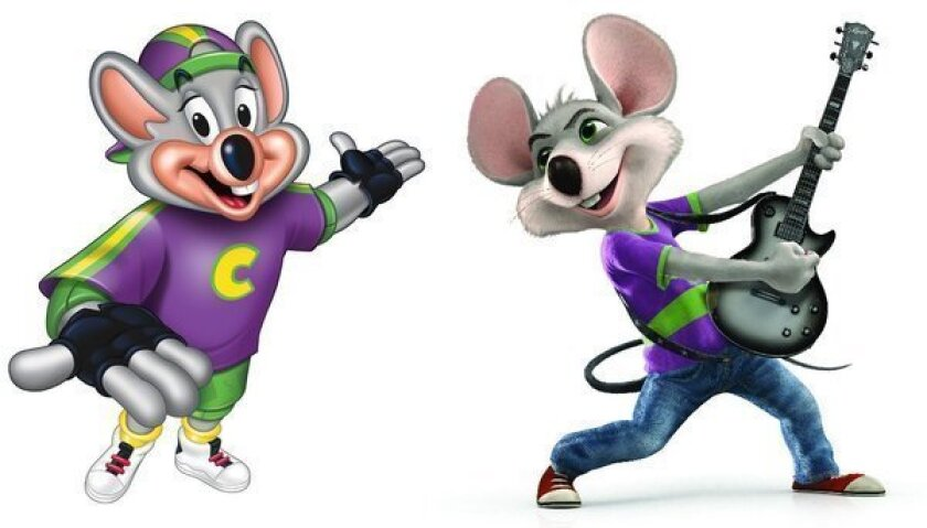 The new look Chuck E. Cheese, right, is replacing his predecessor in ads debuting Thursday.