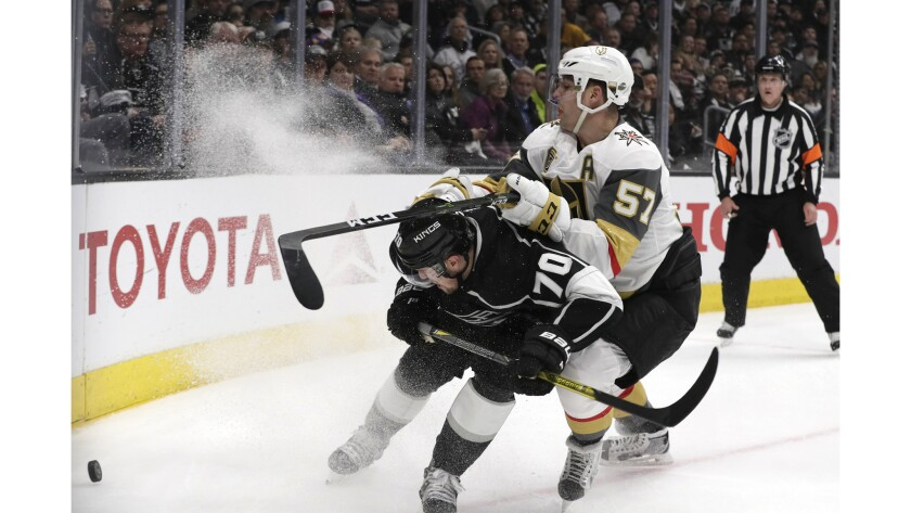 LOS ANGELES, CA, TUESDAY, APRIL 17, 2018 - Kings forward Tanner Pearson races Golden Knights forward