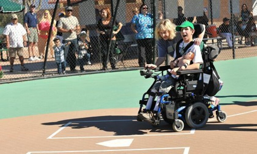 Miracle League Baseball - Daniel scores!