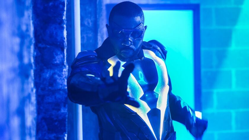 Cress Williams as Black Lightning in the CW superhero series of the same name. His electric character is one of many African American avengers who smashed color barriers in 2018.