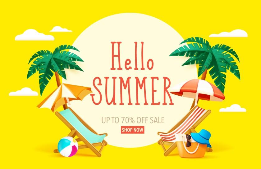 hello summer, beach chairs, palm trees