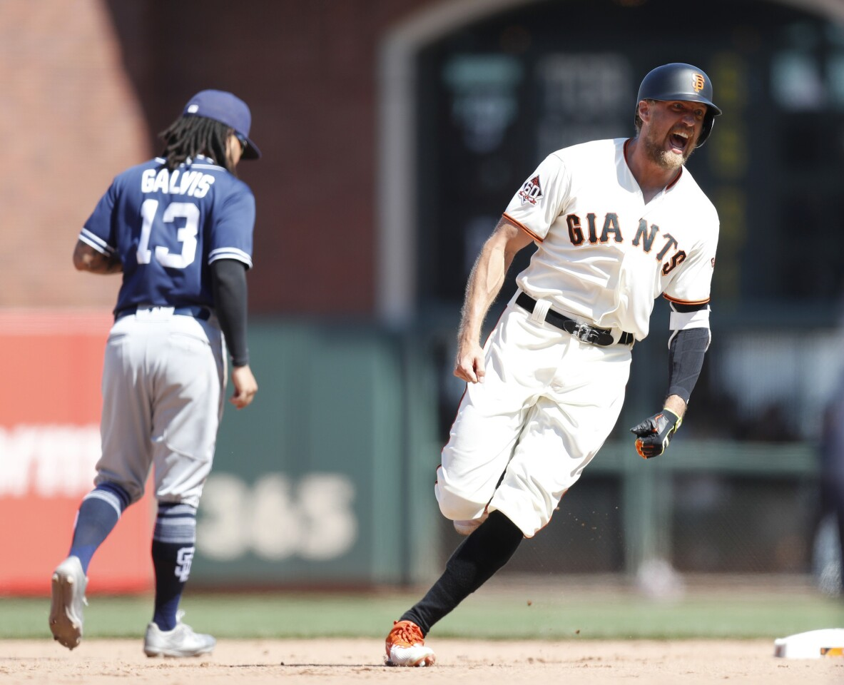 The San Francisco Giants' Hunter Pence celebrates his two-run double to beat the San Diego Padres, 3-2, in the 11th inning at AT&T Park in San Francisco on Sunday, June 24, 2018. (Nhat V. Meyer/Bay Area News Group/TNS) ** OUTS - ELSENT, FPG, TCN - OUTS **