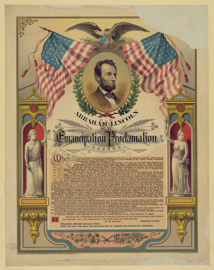 Abraham Lincoln and his Emancipation Proclamation printed by the Strobridge Lithographing Co. of Cincinnati.