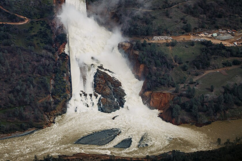 An aerial view of the water flowing out of the Oroville Dam's main spillway on Feb. 21.