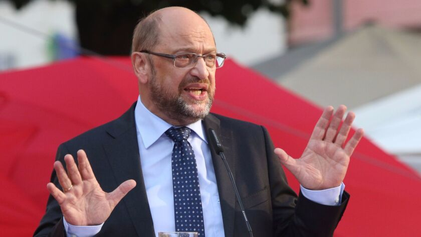 Social Democratic Party leader Martin Schulz, who is running for German chancellor, campaigns in Goettingen on Aug. 23, 2017.