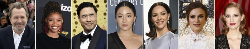 This combination photo of celebrities with birthdays from March 21-27 shows Gary Oldman, from left, Halle Bailey, Randall Park, Constance Wu, Katharine McPhee, Keira Knightley and Jessica Chastain. (AP Photo)