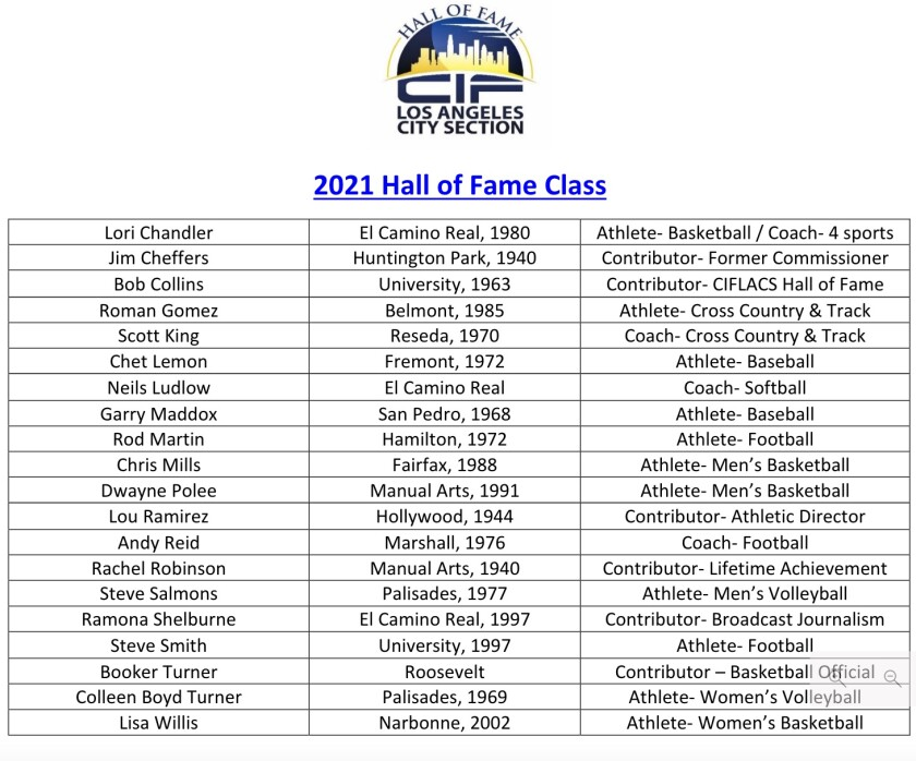 The 2021 City Section Hall of Fame class.
