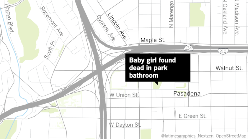 Maintenance workers found the body of a newborn girl Thursday in a restroom at Memorial Park in Pasadena, authorities said.