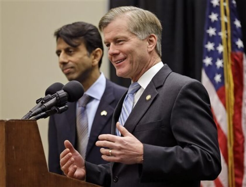 FILE - In this Feb. 8, 2013, file photo, Virginia Gov. Bob McDonnell, right, gestures as he and Louisiana Gov. Bobby Jindal, left, speak about education reform in Richmond, Va. Republican governors, often seen as innovative policy-makers and potential presidential candidates, are struggling in several states with political or ethical problems that might crimp their ambitions. Two governors eyeing possible White House bids, McDonnell and Jindal, suddenly find themselves fending off critics and tr