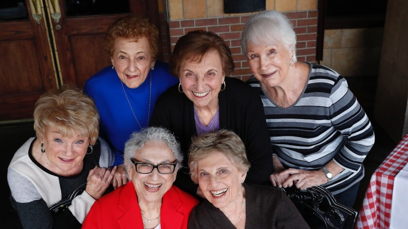 Clockwise from left: Joyce Sindel, 85; Arlene Dunaetz, 85; Armony Share, 86; Charlotte Gussin-Root, 85; Jackie Waterman, 86; and Helen Bialeck, 85, gather at Maggiano's Little Italy restaurant in Woodland Hills.