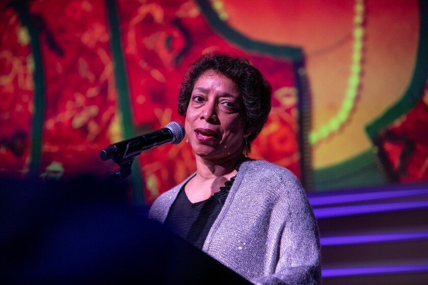 Lynne Thompson speaks at a gala in 2019.