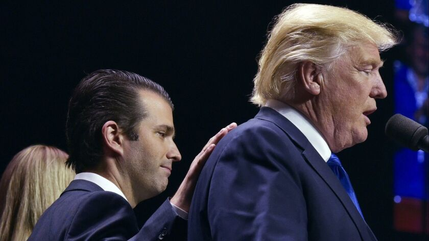 Donald Trump Jr. with his father, then-Republican presidential nominee Donald Trump, in New Hampshire on Nov. 7, 2016.