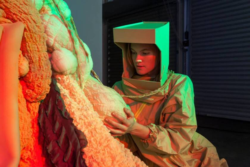 """Artist Megan Daalder, whose work explores the intersection of science and art, is obsessed with the eerily realistic future portrayed on the TV series """"Black Mirror."""" Daalder, above, in her sci-fi musical """"Eureka and the Biomass Man."""""""