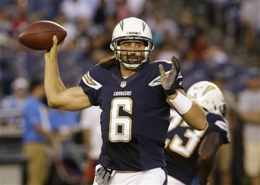 San Diego Chargers quarterback Charlie Whitehurst throws a pass against the San Francisco 49ers during the first half of an NFL preseason football game, Thursday, Aug. 29, 2013, in San Diego. (AP Photo/Lenny Ignelzi)