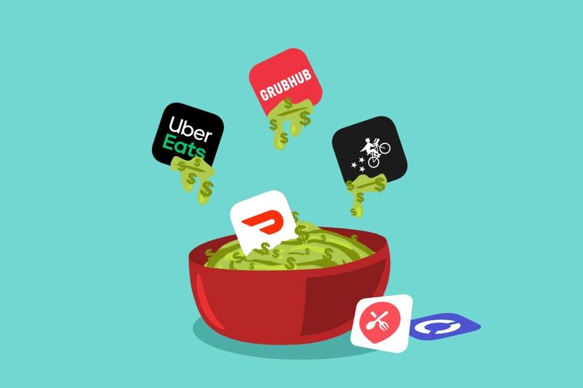 Illustration of delivery apps being dipped into guacamole made of money.