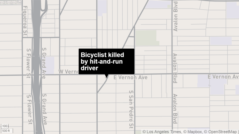 A bicyclist was killed Sunday by a driver who fled the crash at Slauson Avenue and San Pedro Place.