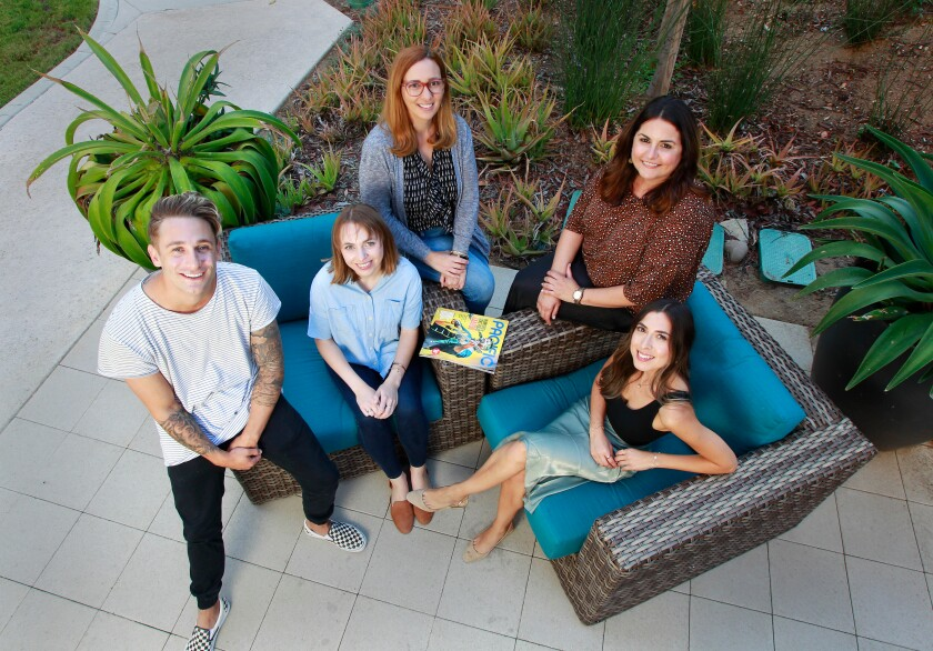 Members of the Pacific Magazine Crew (from left) John Vaccaro, Sara Butler, Nina Garin, Jennifer Ianni, and Pamela Razo pose for photos on September 12, 2019 in San Diego, California.