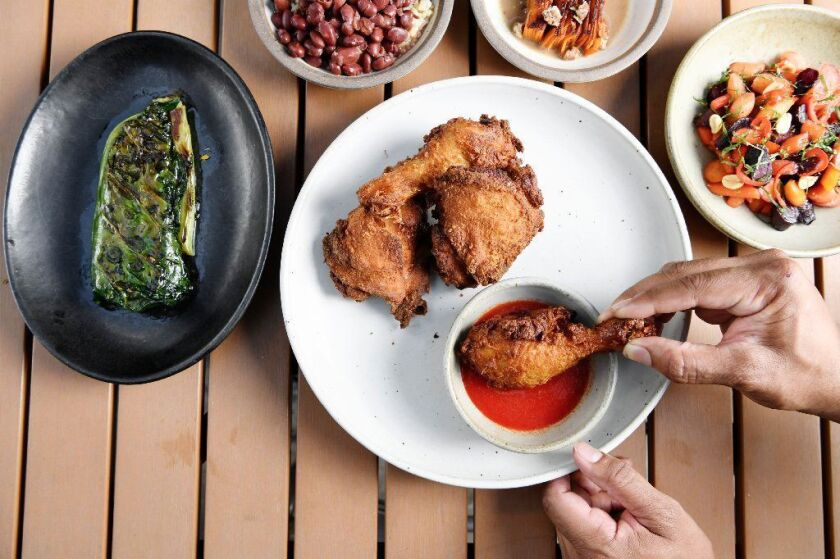 Fried chicken with collards and other sides