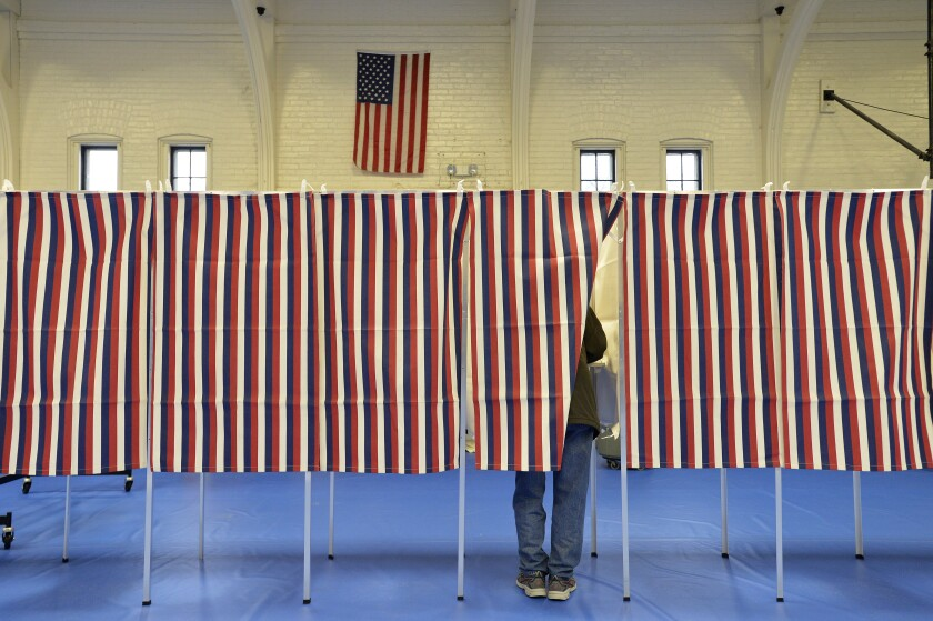 Voting booths in New Hampshire