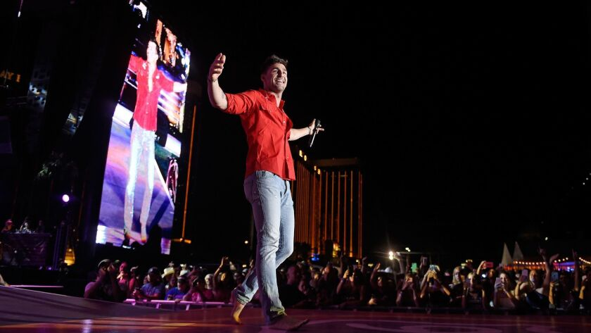 Recording artist Jake Owen performs during the Route 91 Harvest country music festival last year. A mass shooter attacked during the next act, Jason Aldean.