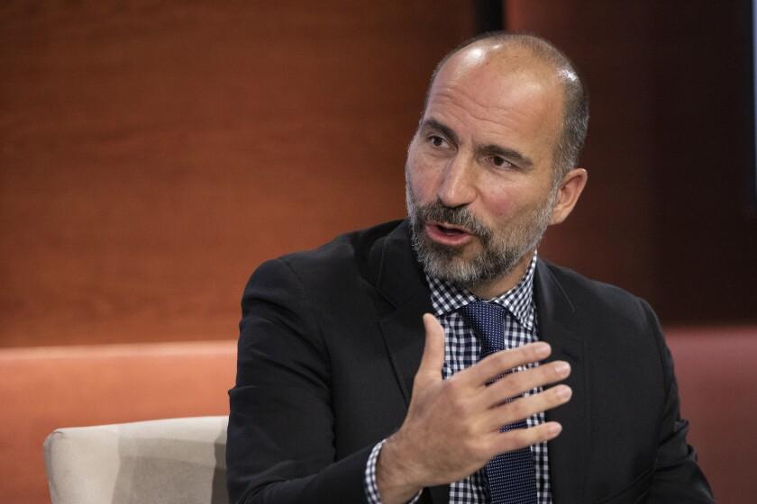 Uber Chief Executive Dara Khosrowshahi speaks at the Bloomberg Global Business Forum in New York.