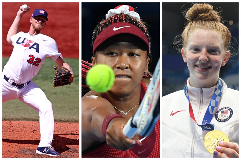 A triptych of Olympic images: USA's relief pitcher Brandon Dickson, Naomi Osaka, and Lydia Jacoby from the 2020 Olympics.