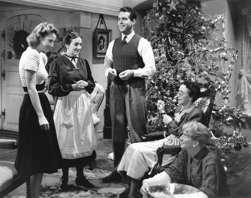 "Barbara Stanwyck, from left, Beulah Bondi, Fred MacMurray and Sterling Holloway in 1940's ""Remember the Night."""