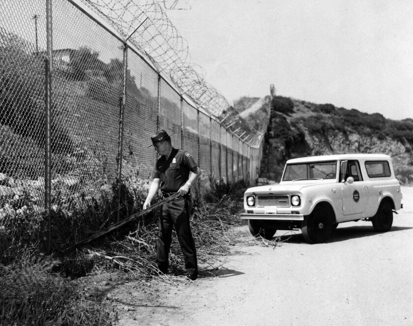 A Border Patrol agent finds a camouflaged tunnel under border fence in 1969.