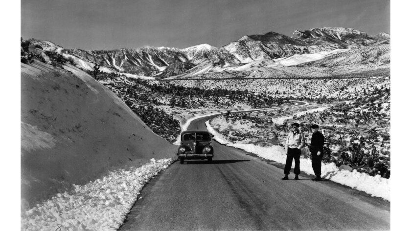 Image from 1939 of the road between Las Vegas, Nevada, and Mt. Charleston. The car is a 1939 Hudson Country Club sport sedan.