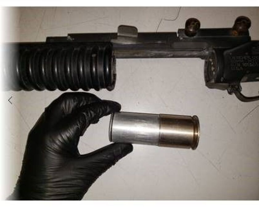 A grenade launcher was found during a traffic stop in San Diego.