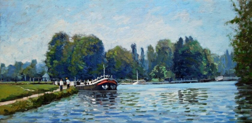 'Burgundy Canal Boats' is one of dozens of new paintings by Solana Beach artist John Modesitt.