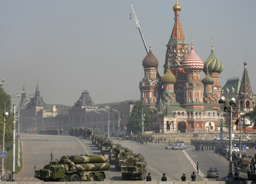 Russian S-300 air defense missiles roll through Red Square during a rehearsal May 5, 2008, for a Victory Day parade in Moscow.