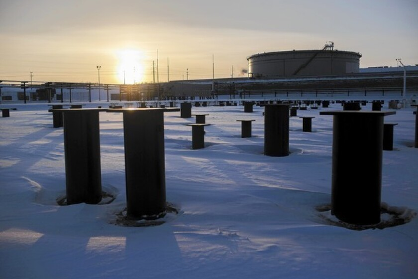 A terminal is under construction in Hardisty, Canada, for the proposed Keystone XL oil pipeline project.