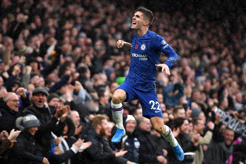 Chelsea's Christian Pulisic celebrates after scoring against Crystal Palace during a Premier League match Nov. 9 at Stamford Bridge.