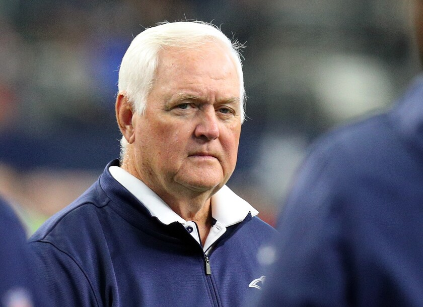 Rams defensive coordinator Wade Phillips stands on the field before the game against the Dallas Cowboys on Dec. 15 in Arlington, Texas.
