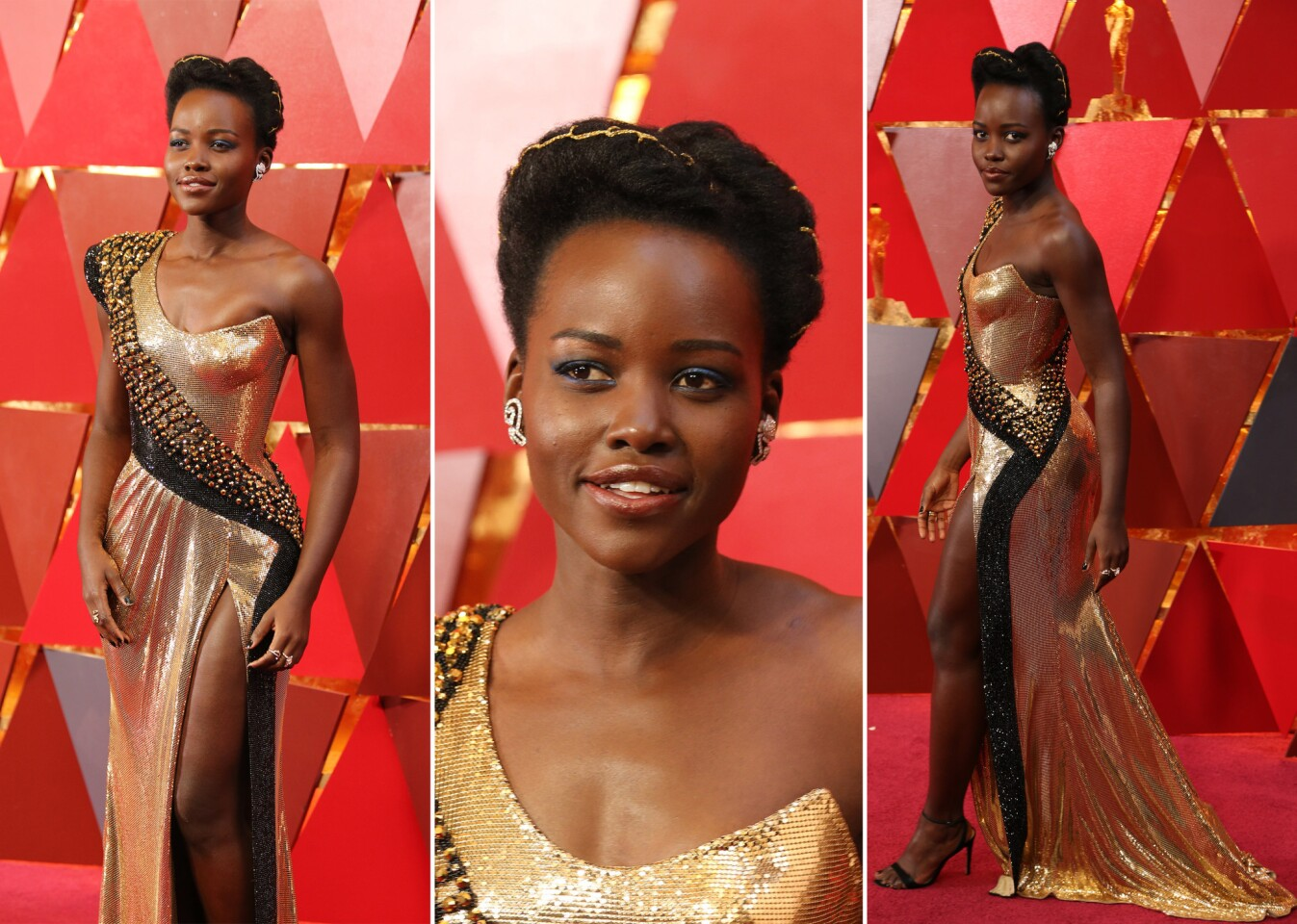 Lupita Nyong'o looks regal in gold and black. She makes our best-dressed list.