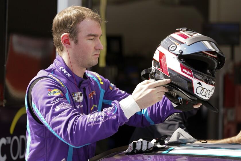 Cody Ware gets ready for a NASCAR Daytona 500 auto race practice session at Daytona International Speedway, Wednesday, Feb. 10, 2021, in Daytona Beach, Fla. (AP Photo/John Raoux)