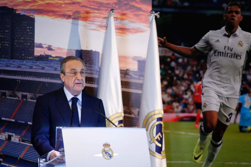 Real Madrid president Florentino Perez speaks to the press during the official presentation of Real Madrid's Spanish-Dominican forward Mariano at the Santiago Bernabeu Stadium in Madrid on August 31, 2018.