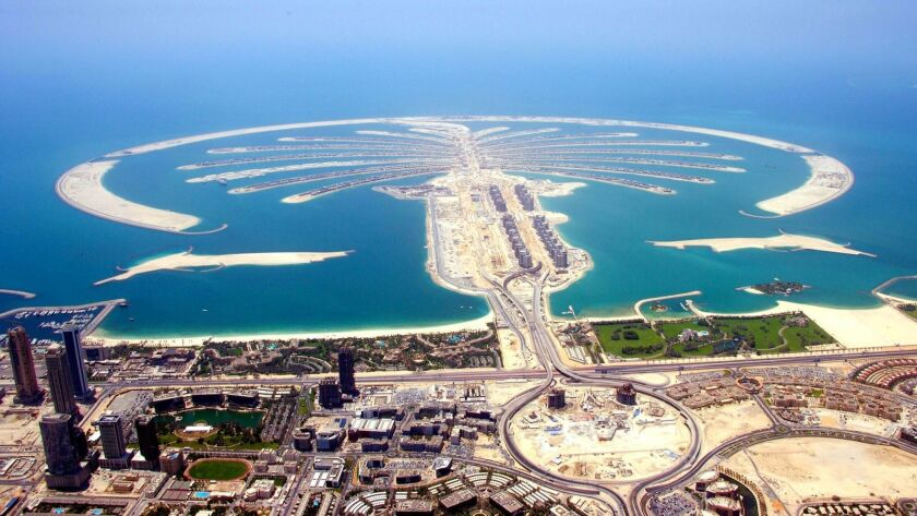 The Palm Islands are artificial islands off the coast of Dubai with hundreds of homes.