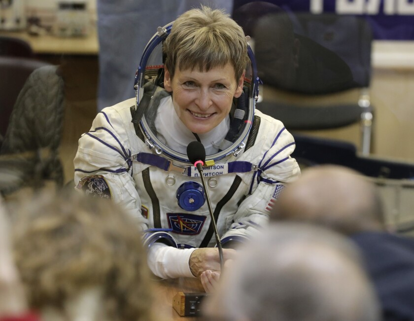 U.S. astronaut Peggy Whitson, member of the main crew of the expedition to the International Space Station, speaks with her relatives on Nov. 17, 2016.