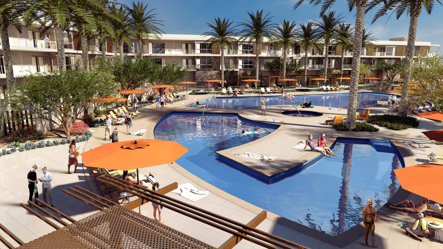 The resort-style property will include two pools, a gym, massage studio, and restaurant and bar, among other comforts.