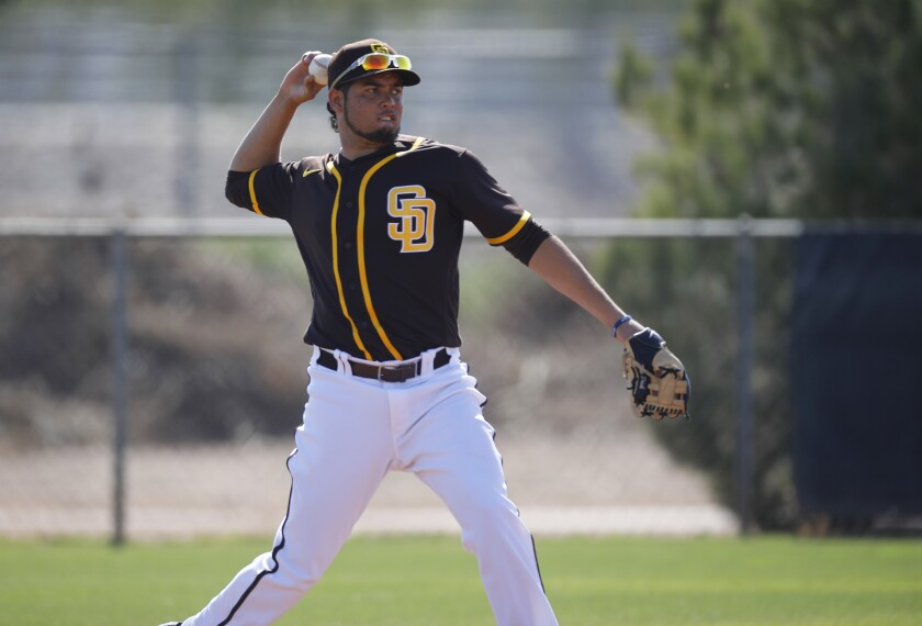 San Diego Padres Breyvic Valera makes a play during a spring training practice on Feb. 21, 2020.