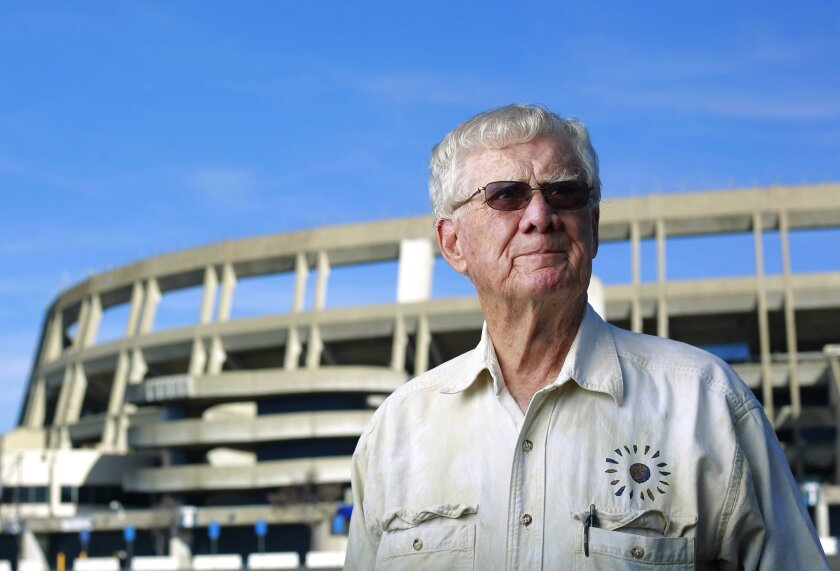 J. Stacey Sullivan, pictured here in 2016 at age 89, was involved in the original negotiations to bring the Chargers to San Diego and build what became known as Qualcomm Stadium. He represented the first two owners, Barron Hilton and Gene Klein.
